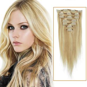 18 Inch #18/613 Blonde Highlight Clip In Remy Human Hair Extensions 7pcs