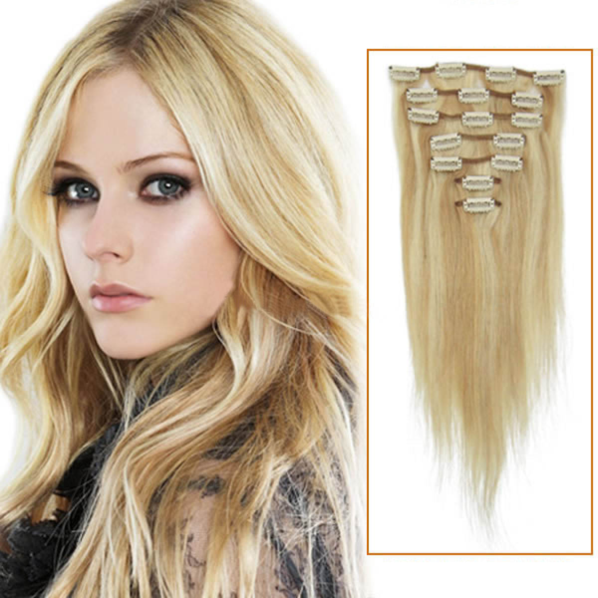 18 Inch 18613 Blonde Highlight Clip In Remy Human Hair Extensions 7pcs