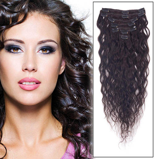18 Inch #1B Natural Black Clip In Remy Hair Extensions Delicate French Wavy 7 Pcs