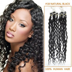 18 Inch #1B Natural Black Curly Helpful Micro Loop Hair Extensions 100 Strands