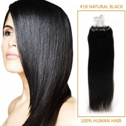 18 Inch #1b Natural Black Micro Loop Human Hair Extensions 100S