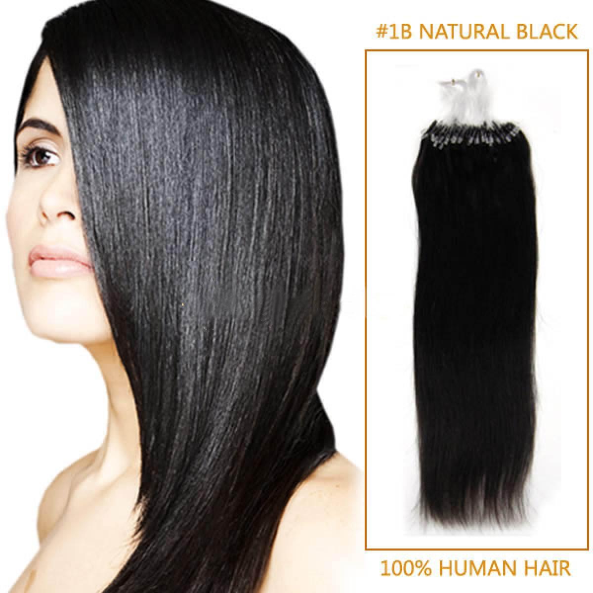 18 Inch #1b Natural Black Micro Loop Human Hair Extensions 100S