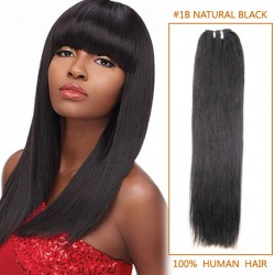 18 Inch #1b Natural Black Straight Indian Remy Hair Wefts