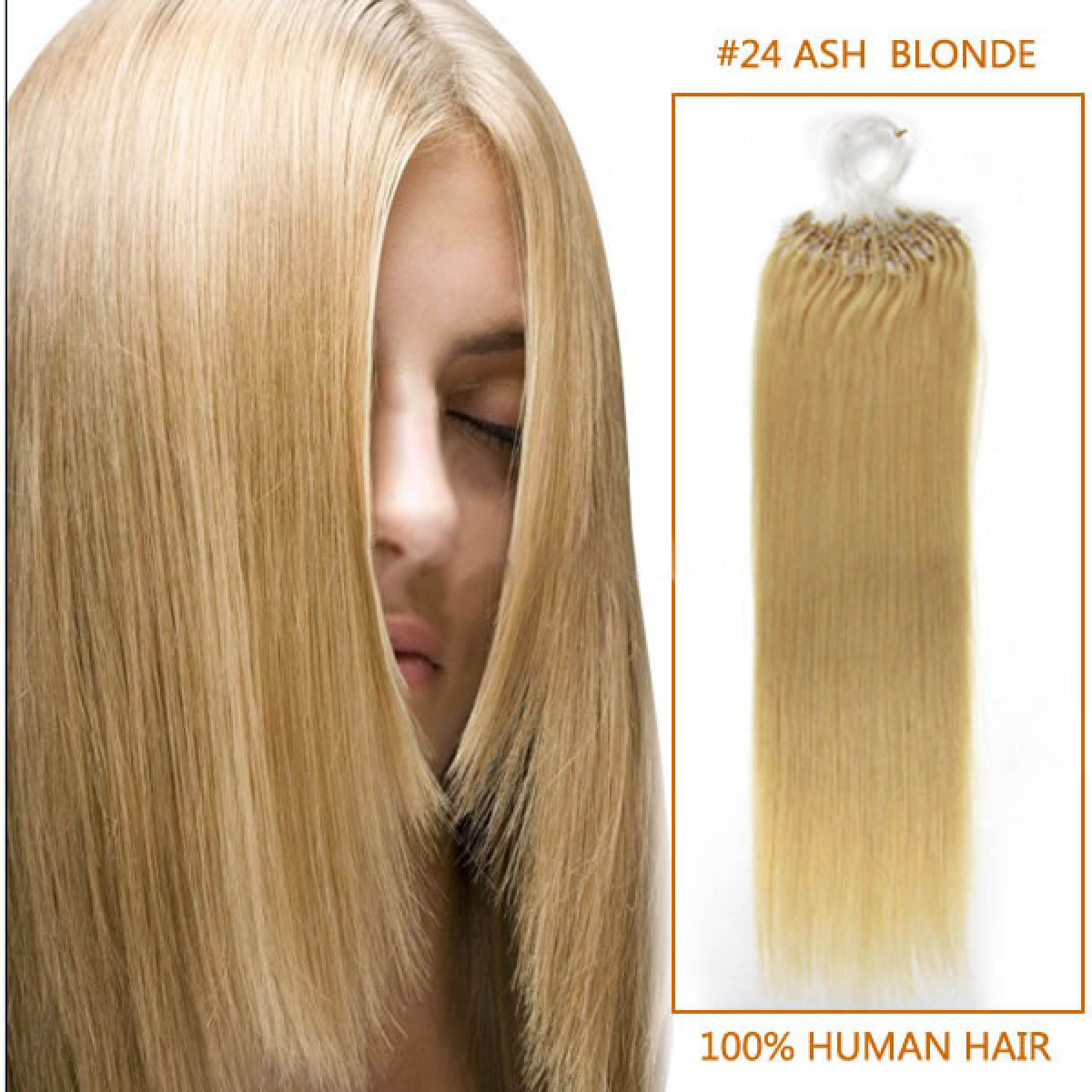 18 Inch 24 Ash Blonde Micro Loop Human Hair Extensions 100s