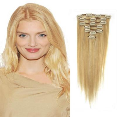 18 Inch #27/613 Blonde Highlight Clip In Remy Human Hair Extensions 7pcs