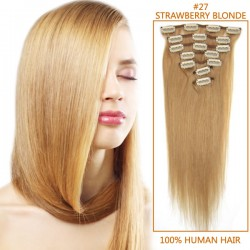 18 Inch #27 Strawberry Blonde Clip In Human Hair Extensions 11pcs