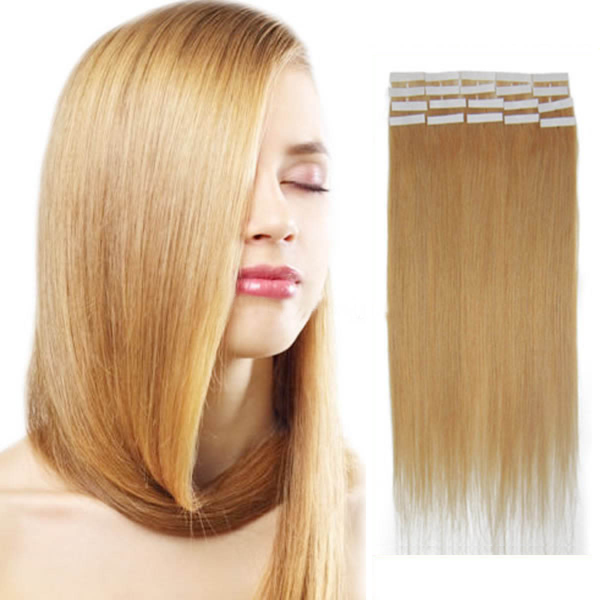 18 Inch 27 Strawberry Blonde Tape In Human Hair Extensions 20pcs