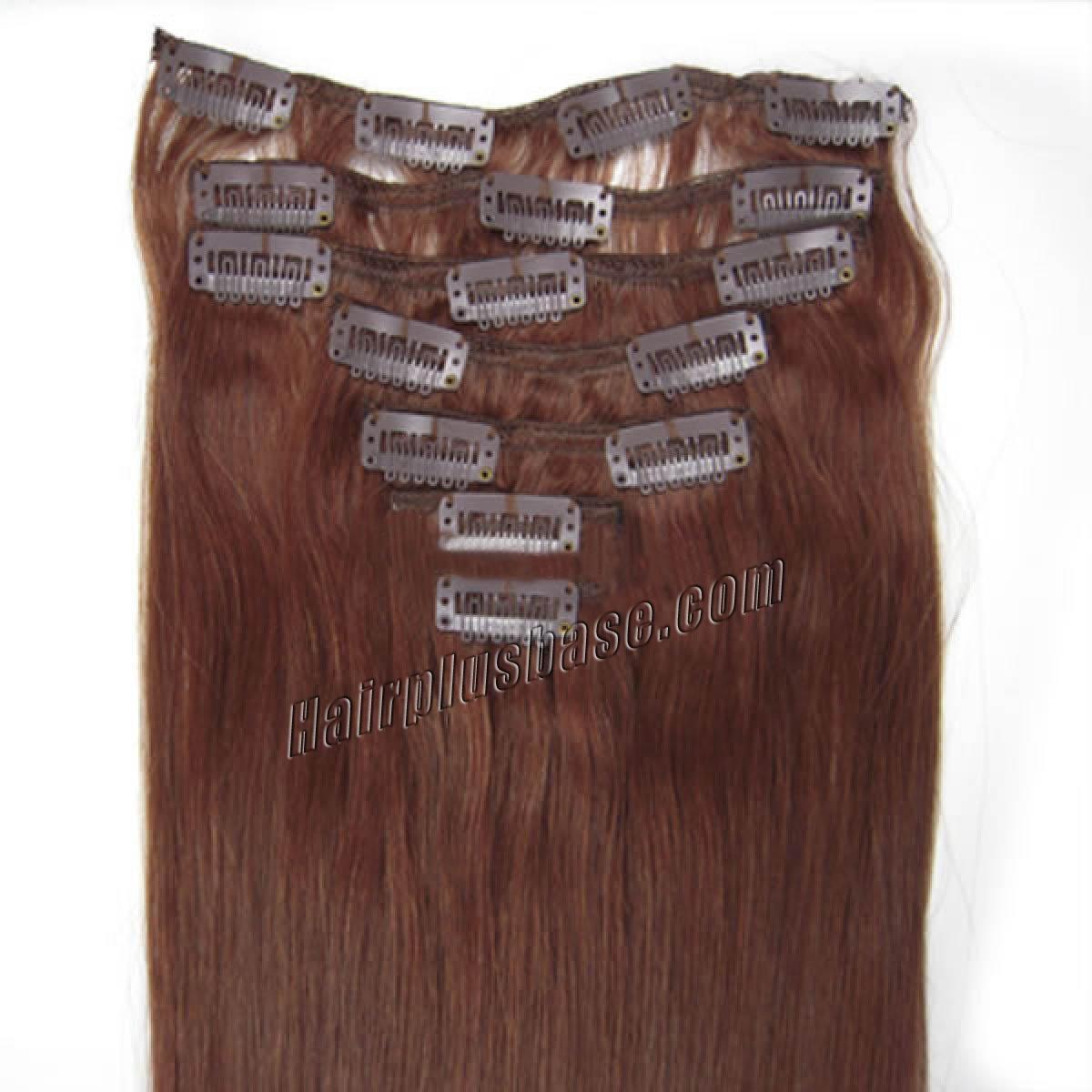 18 Inch 33 Dark Auburn Clip In Human Hair Extensions 8pcs