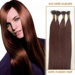 18 Inch #33 Dark Auburn Stick Tip Human Hair Extensions 100S