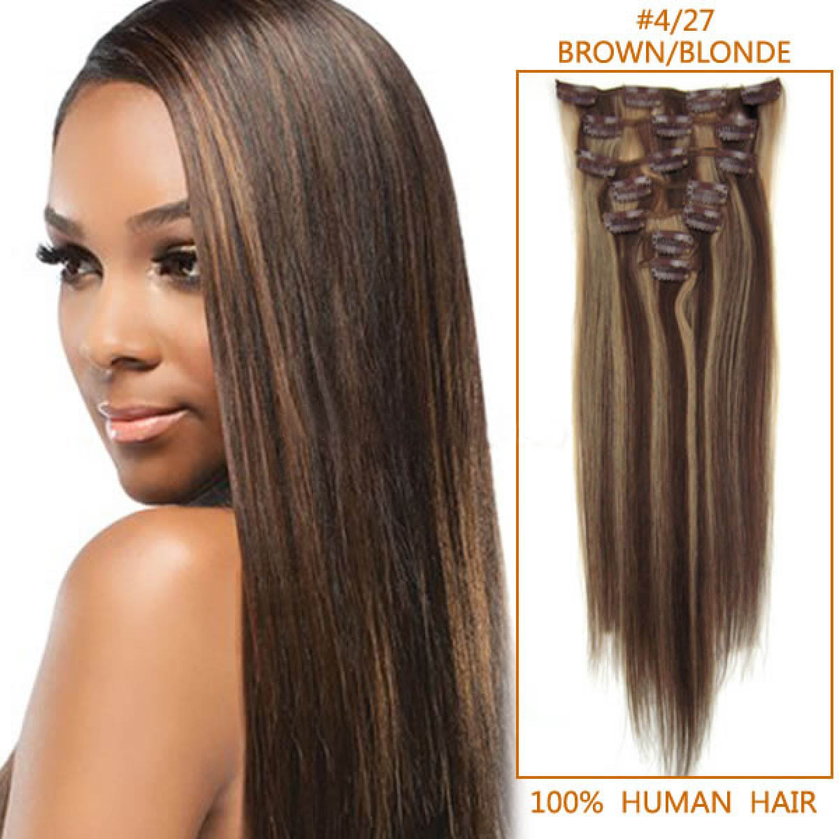 18 Inch 427 Brownblonde Clip In Human Hair Extensions 8pcs