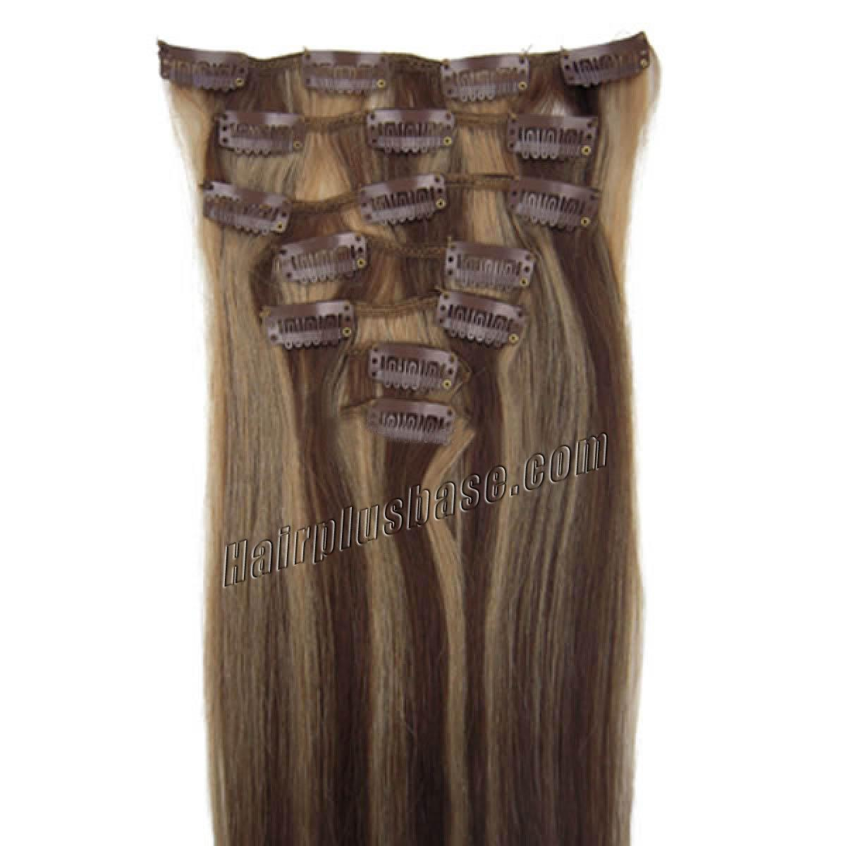 18 Inch 427 Brownblonde Clip In Remy Human Hair Extensions 9pcs