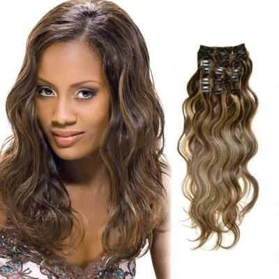 18 Inch #4/27 Brown/Blonde Fabulous Clip In Hair Extensions Body Wave 7 Pcs