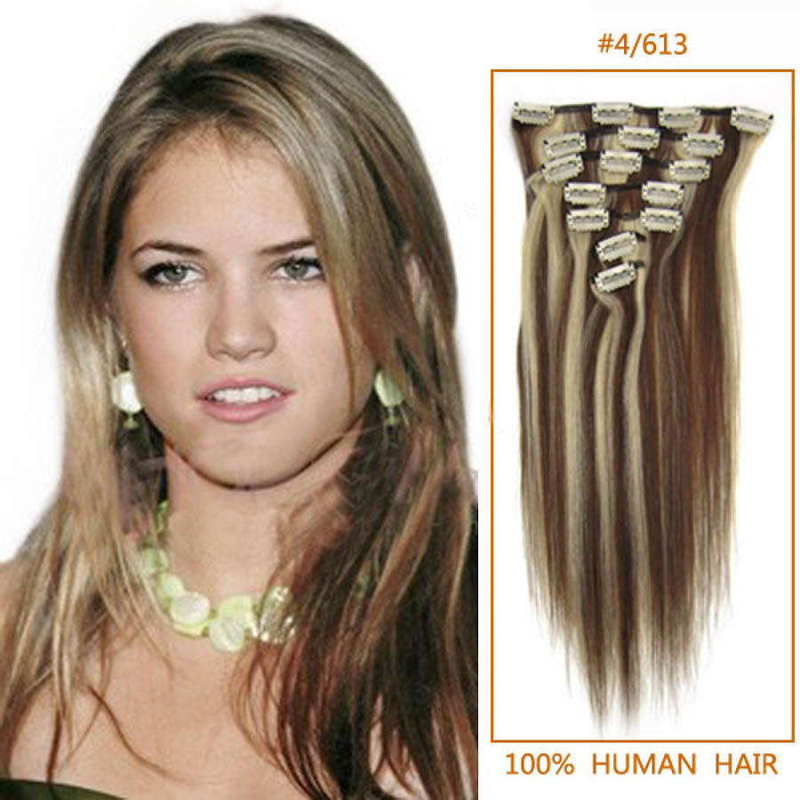18 Inch 4613 Clip In Remy Human Hair Extensions 9pcs