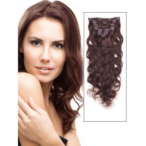 18 Inch #4 Medium Brown Clip In Indian Remy Human Hair Extensions Elegant Body Wave 7 Pcs