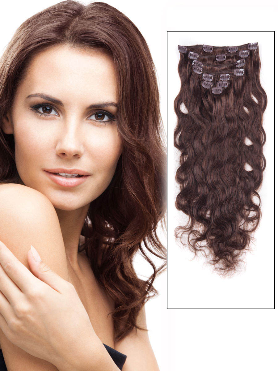 18 Inch 4 Medium Brown Clip In Indian Remy Human Hair Extensions