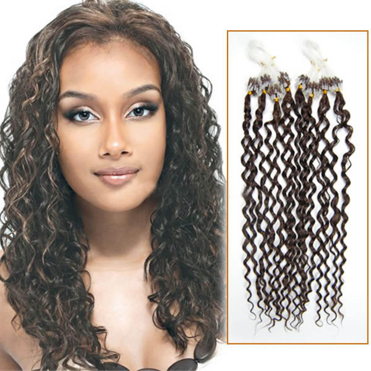 18 Inch 4 Medium Brown Curly Excellent Micro Loop Hair Extensions
