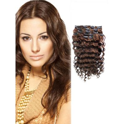 18 Inch #6 Light Brown Clip In Hair Extensions More Texture Curly 7 Pieces Set