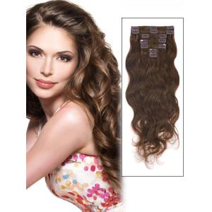 18 Inch #6 Light Brown Clip In Hair Extensions Silky Body Wave 7 Pcs