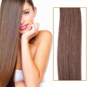 18 Inch #6 Light Brown Clip In Remy Human Hair Extensions 7pcs