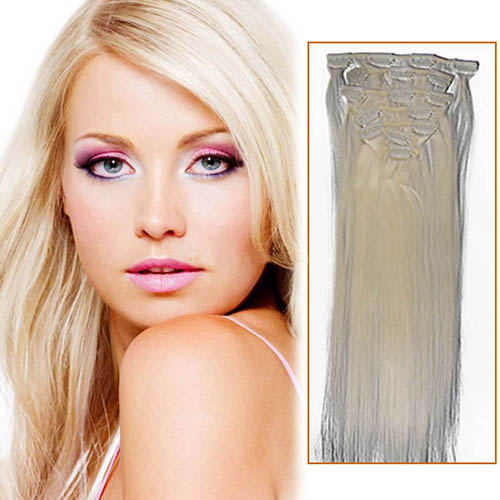 18 Inch #60 White Blonde Clip In Remy Human Hair Extensions 7pcs