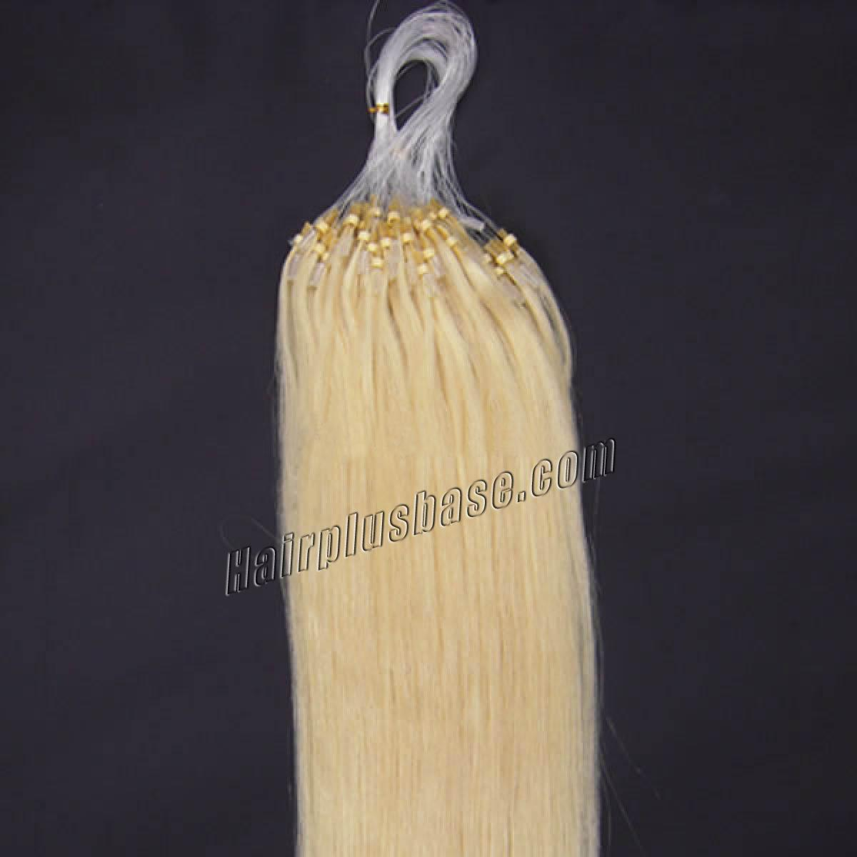 18 Inch #60 White Blonde Micro Loop Human Hair Extensions 100S no 2