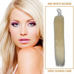 18 Inch #60 White Blonde Micro Loop Human Hair Extensions 100S