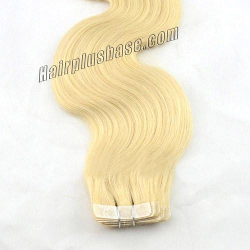 18 Inch #60 White Blonde Simple Tape In Hair Extensions Body Wave 20 Pcs no 4