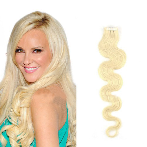 18 Inch #60 White Blonde Simple Tape In Hair Extensions Body Wave 20 Pcs
