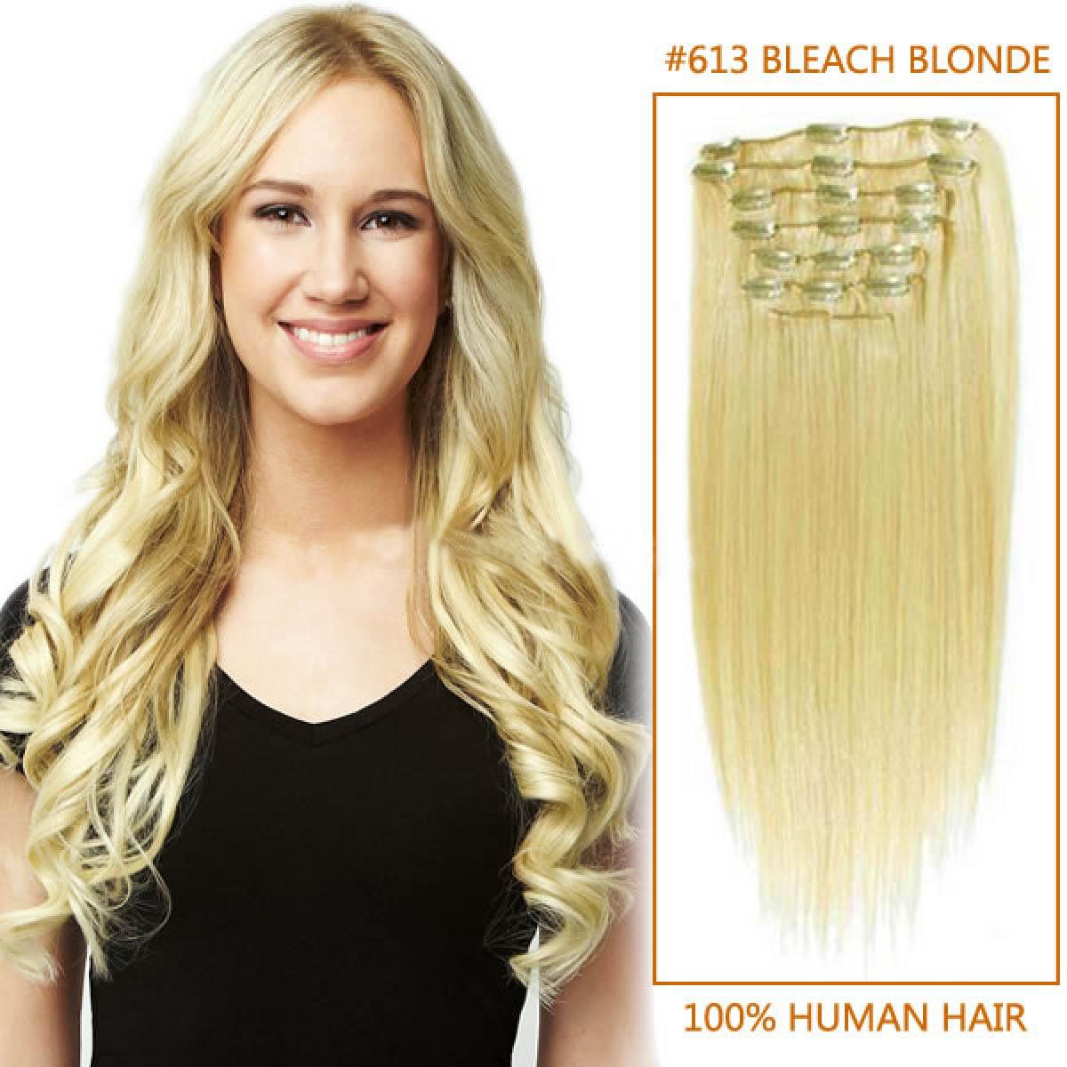 18 Inch 613 Bleach Blonde Clip In Remy Human Hair Extensions 9pcs