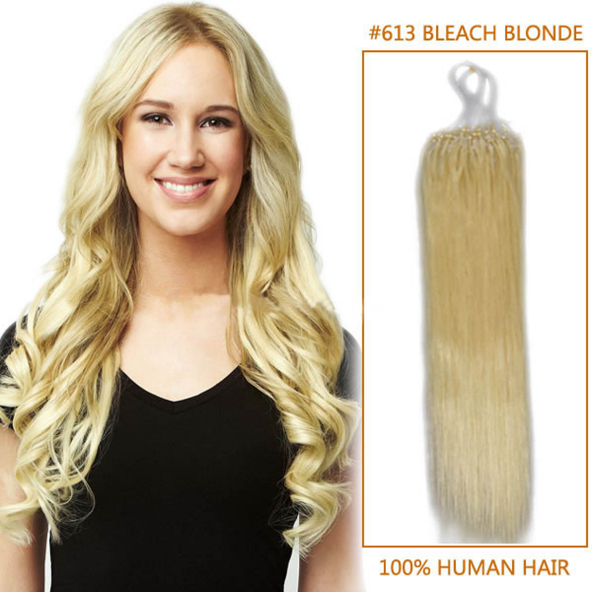 18 Inch 613 Bleach Blonde Micro Loop Human Hair