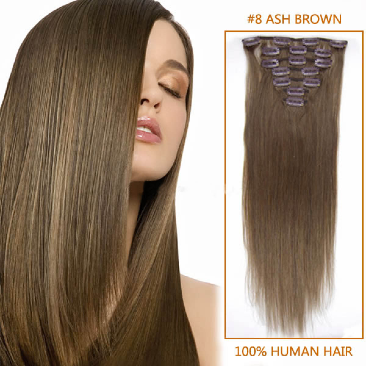 18 Inch 8 Ash Brown Clip In Human Hair Extensions 8pcs
