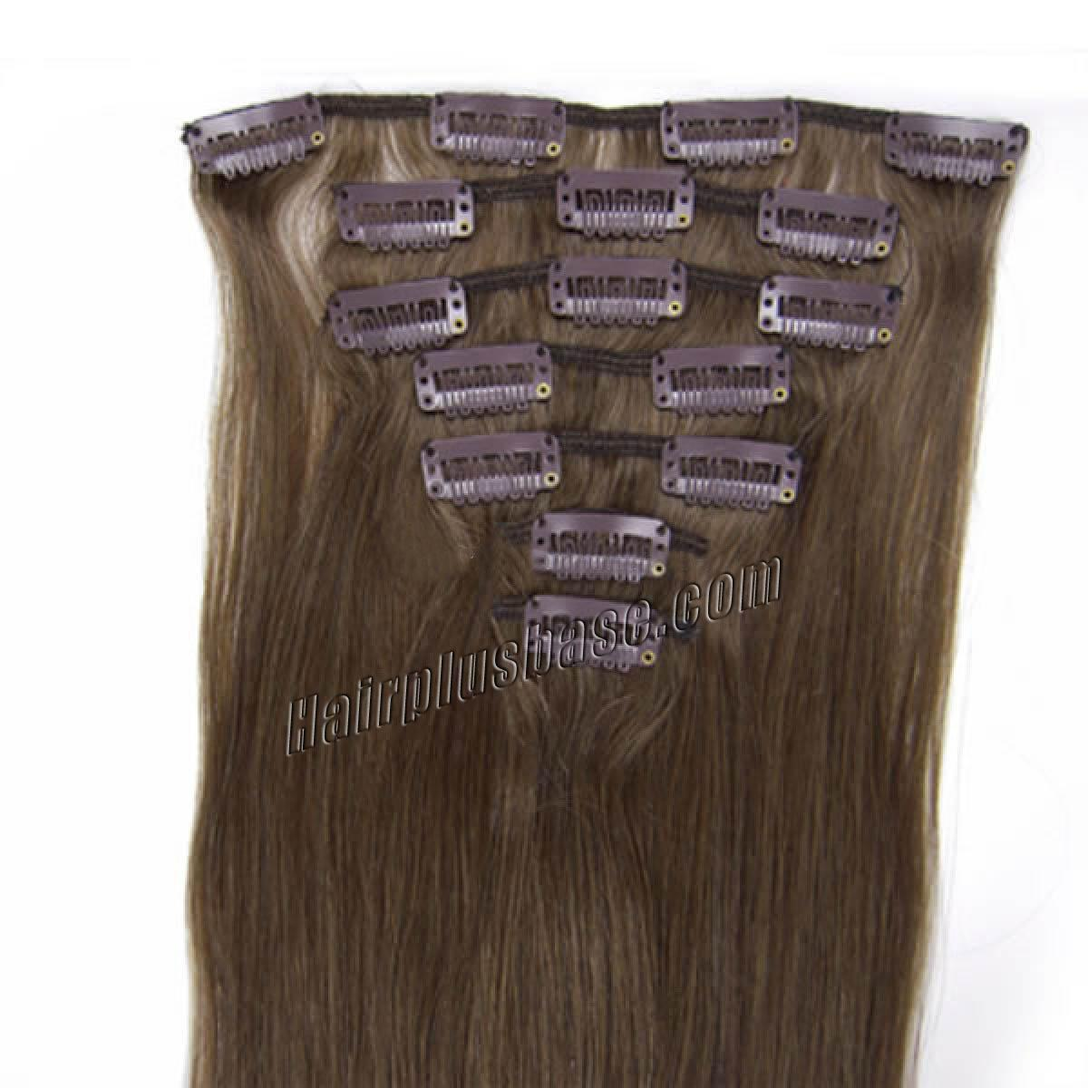 18 Inch #8 Ash Brown Clip In Remy Human Hair Extensions 7pcs no 1