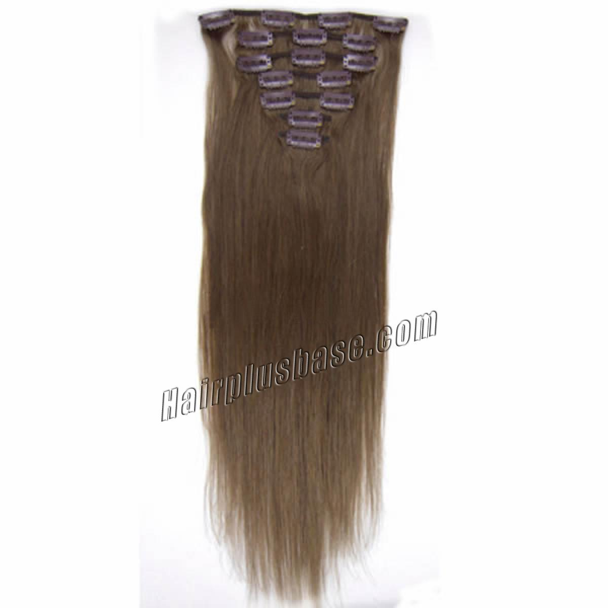 18 Inch #8 Ash Brown Clip In Remy Human Hair Extensions 7pcs no 2