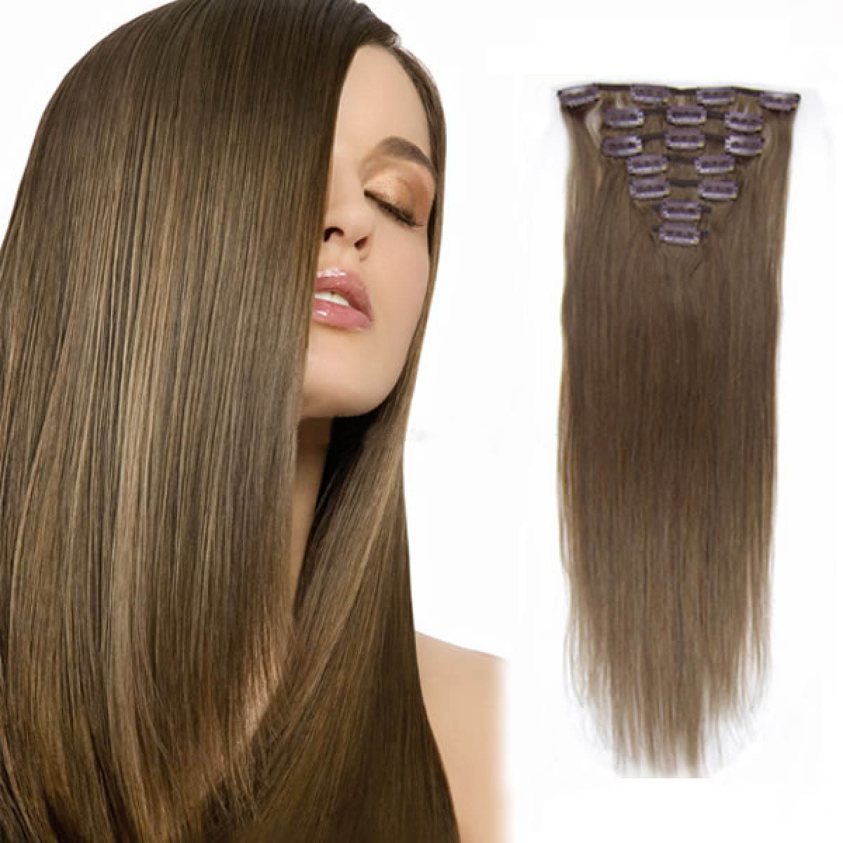 18 Inch #8 Ash Brown Clip In Remy Human Hair Extensions 7pcs