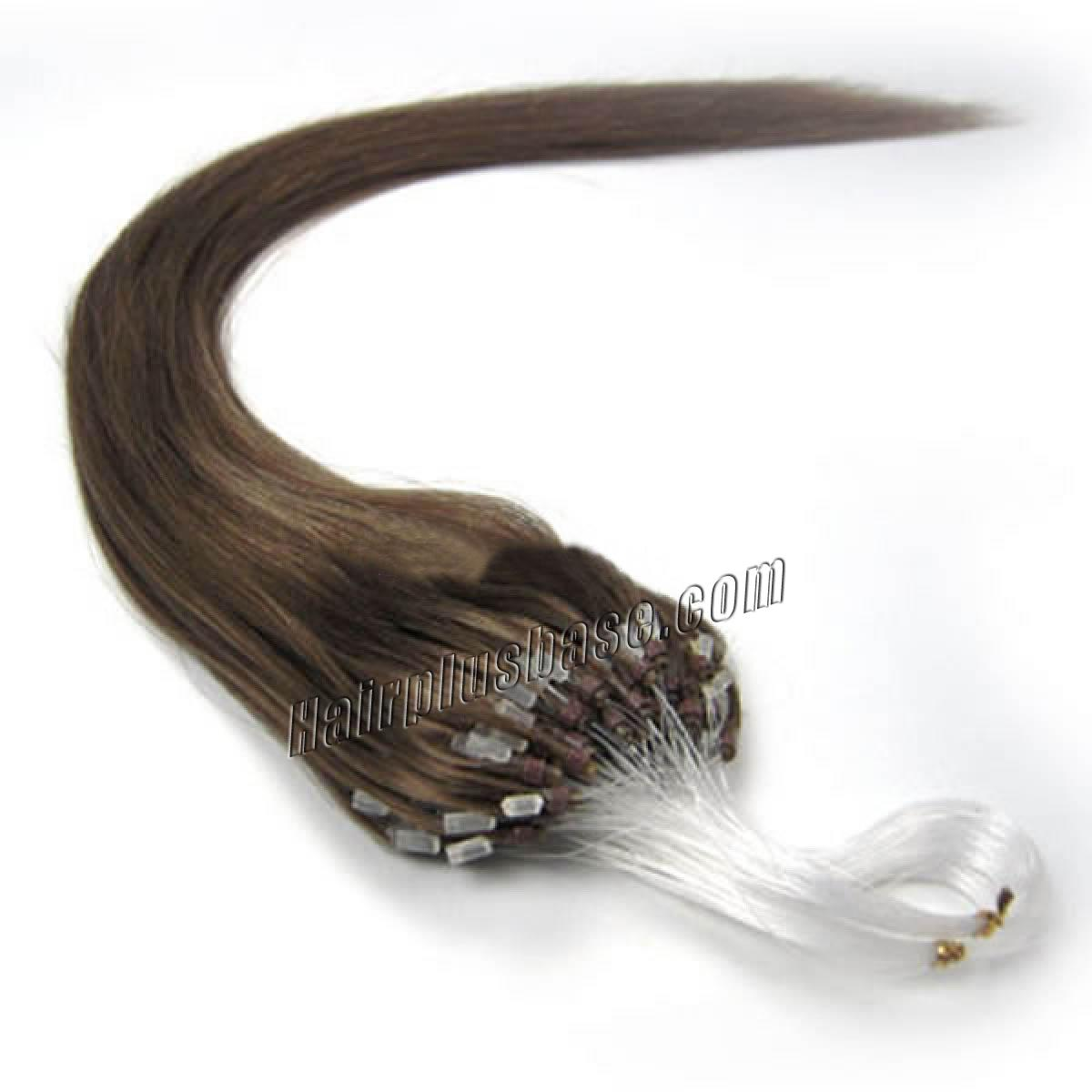 18 Inch #8 Ash Brown Micro Loop Human Hair Extensions 100S no 1