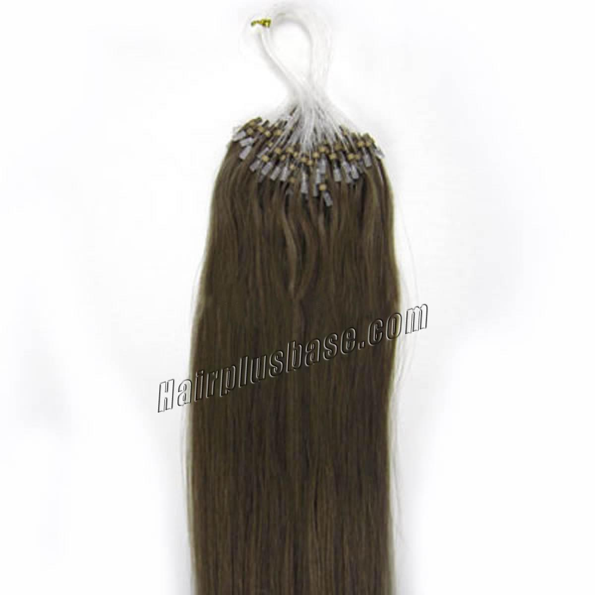 18 Inch #8 Ash Brown Micro Loop Human Hair Extensions 100S no 2