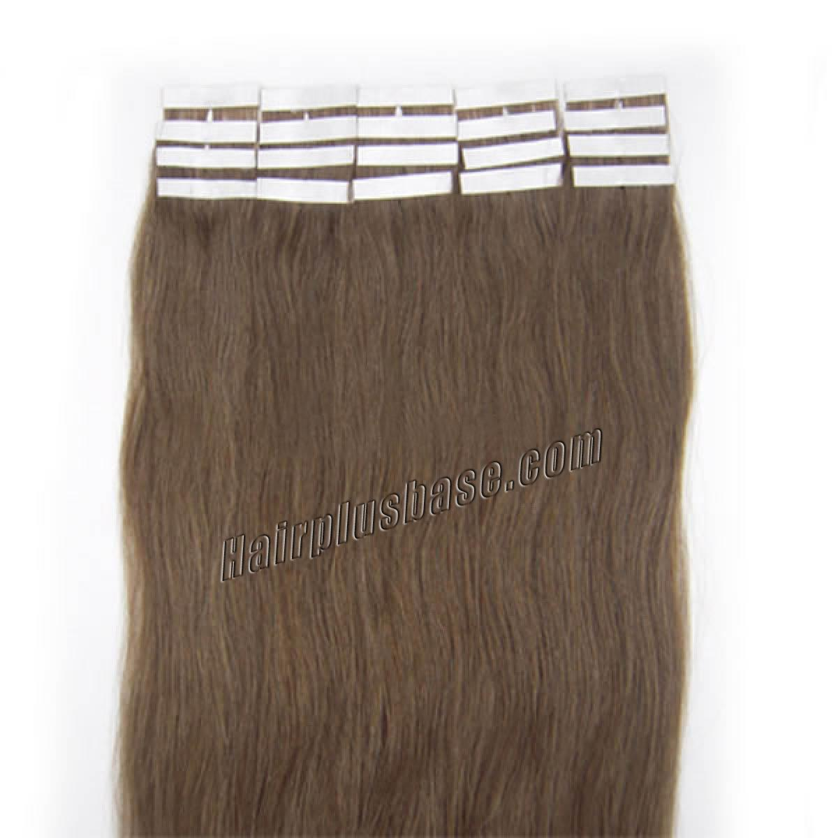 18 Inch #8 Ash Brown Tape In Human Hair Extensions 20pcs no 2
