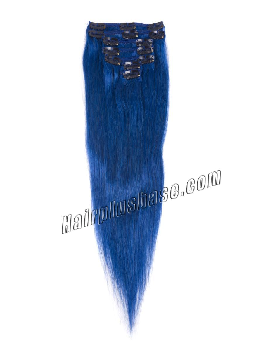 18 Inch Blue Clip In Remy Human Hair Extensions 7pcs