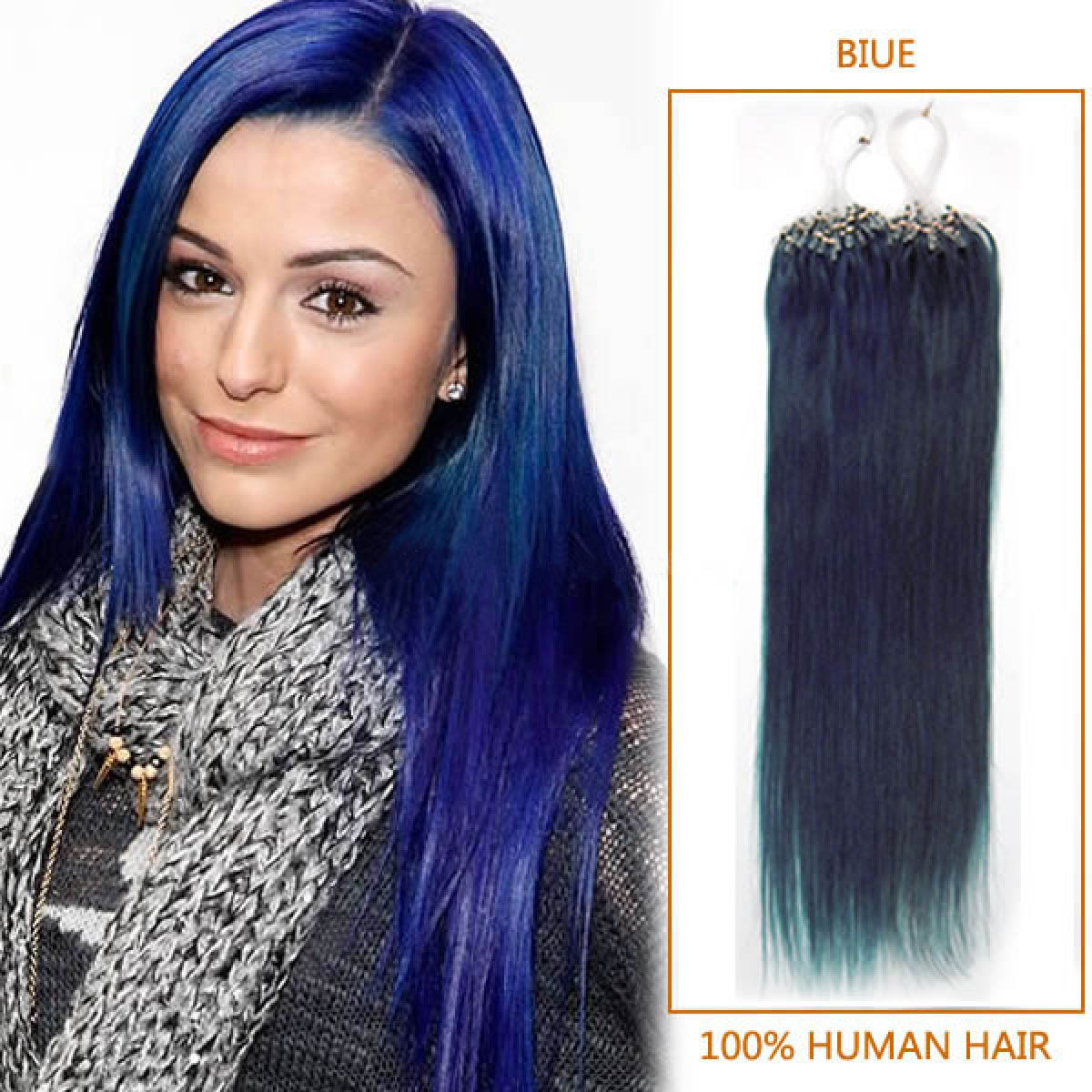 18 Inch Blue Micro Loop Human Hair Extensions 100s 100g