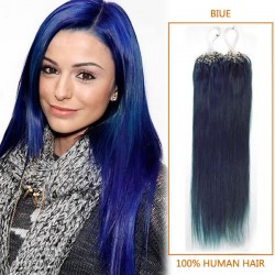 18 Inch Blue Micro Loop Human Hair Extensions 100S