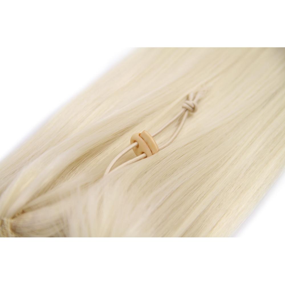 18 Inch Drawstring Human Hair Ponytail Beautiful Straight #60 White Blonde no 2