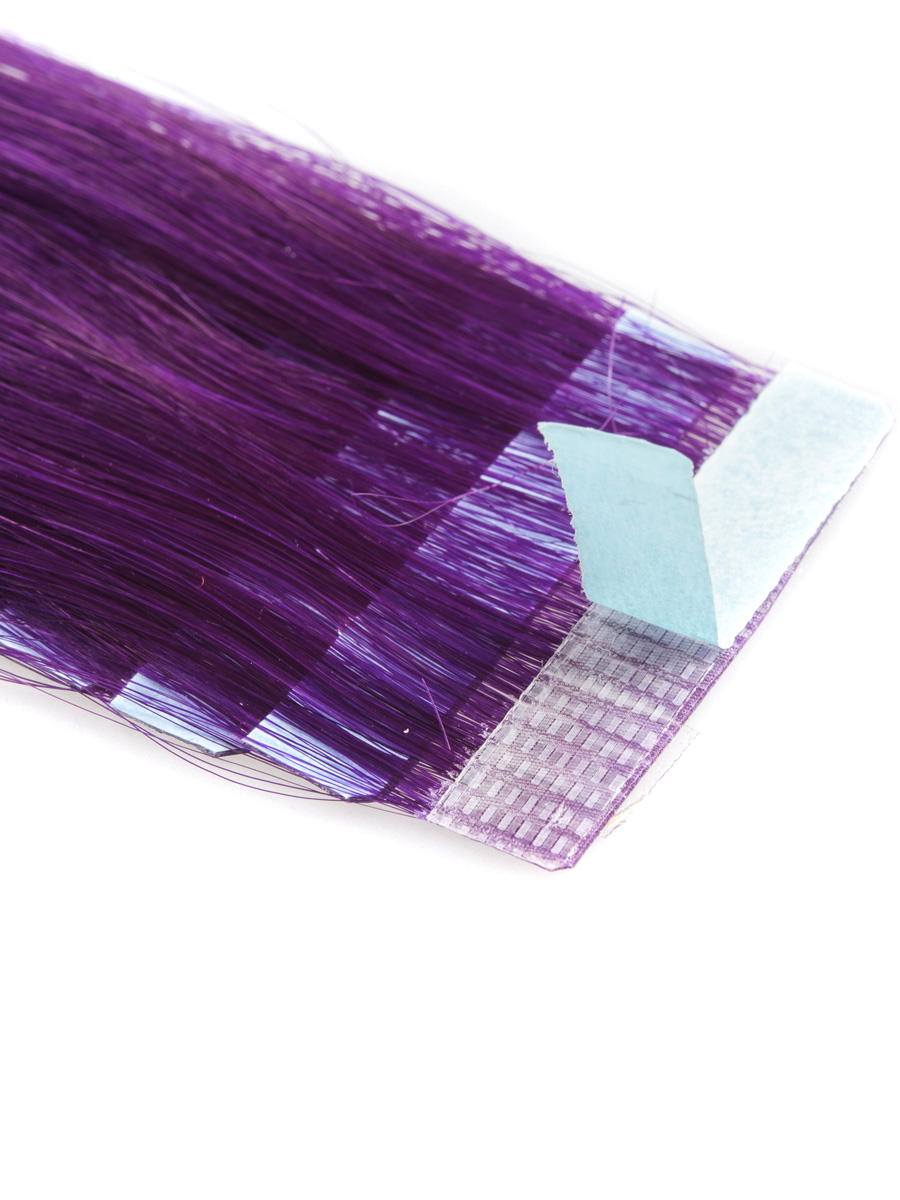 18 Inch Funky Purple Tape In Hair Extensions Straight 10pcs no 2