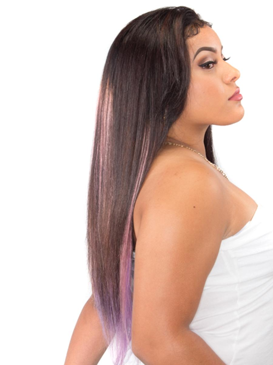 18 Inch Gorgeous Ombre Clip in Hair Extensions Two Tone Straight 9 Pieces #1BTPurple no 1
