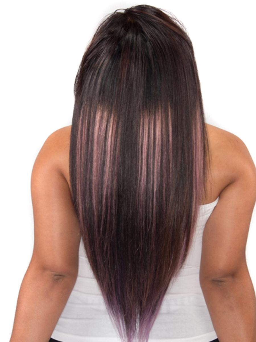 18 Inch Gorgeous Ombre Clip in Hair Extensions Two Tone Straight 9 Pieces #1BTPurple no 2