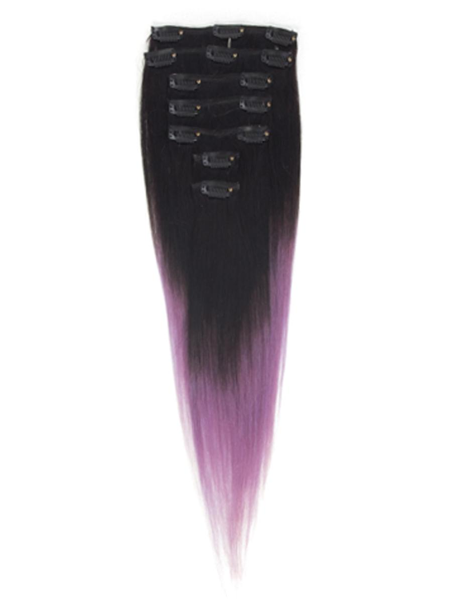 18 Inch Gorgeous Ombre Clip in Hair Extensions Two Tone Straight 9 Pieces #1BTPurple no 3