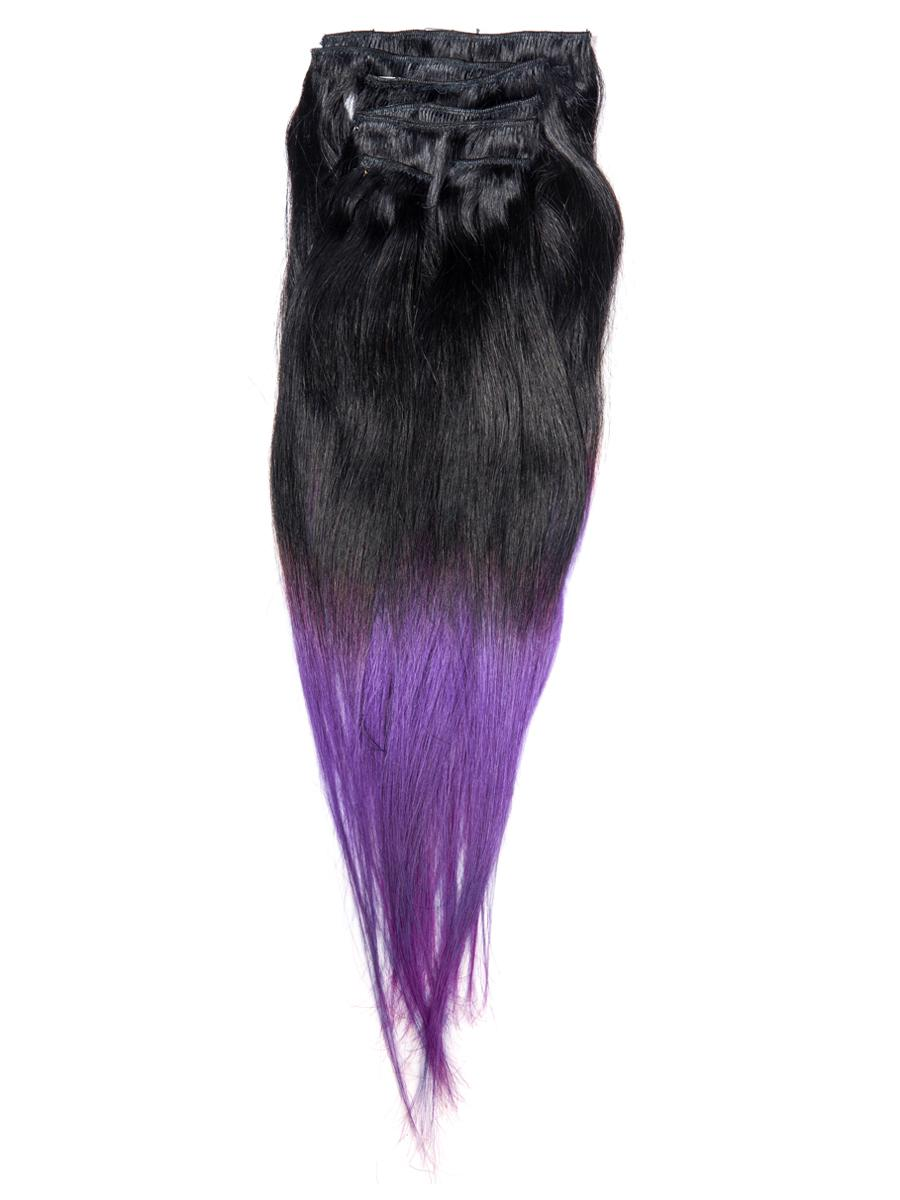 18 Inch Gorgeous Ombre Clip in Hair Extensions Two Tone Straight 9 Pieces #1BTPurple no 6