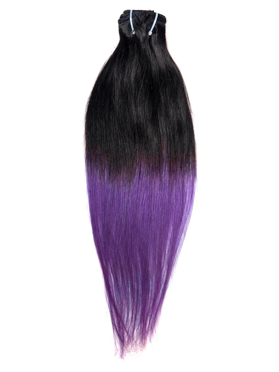 18 Inch Gorgeous Ombre Clip in Hair Extensions Two Tone Straight 9 Pieces #1BTPurple no 7