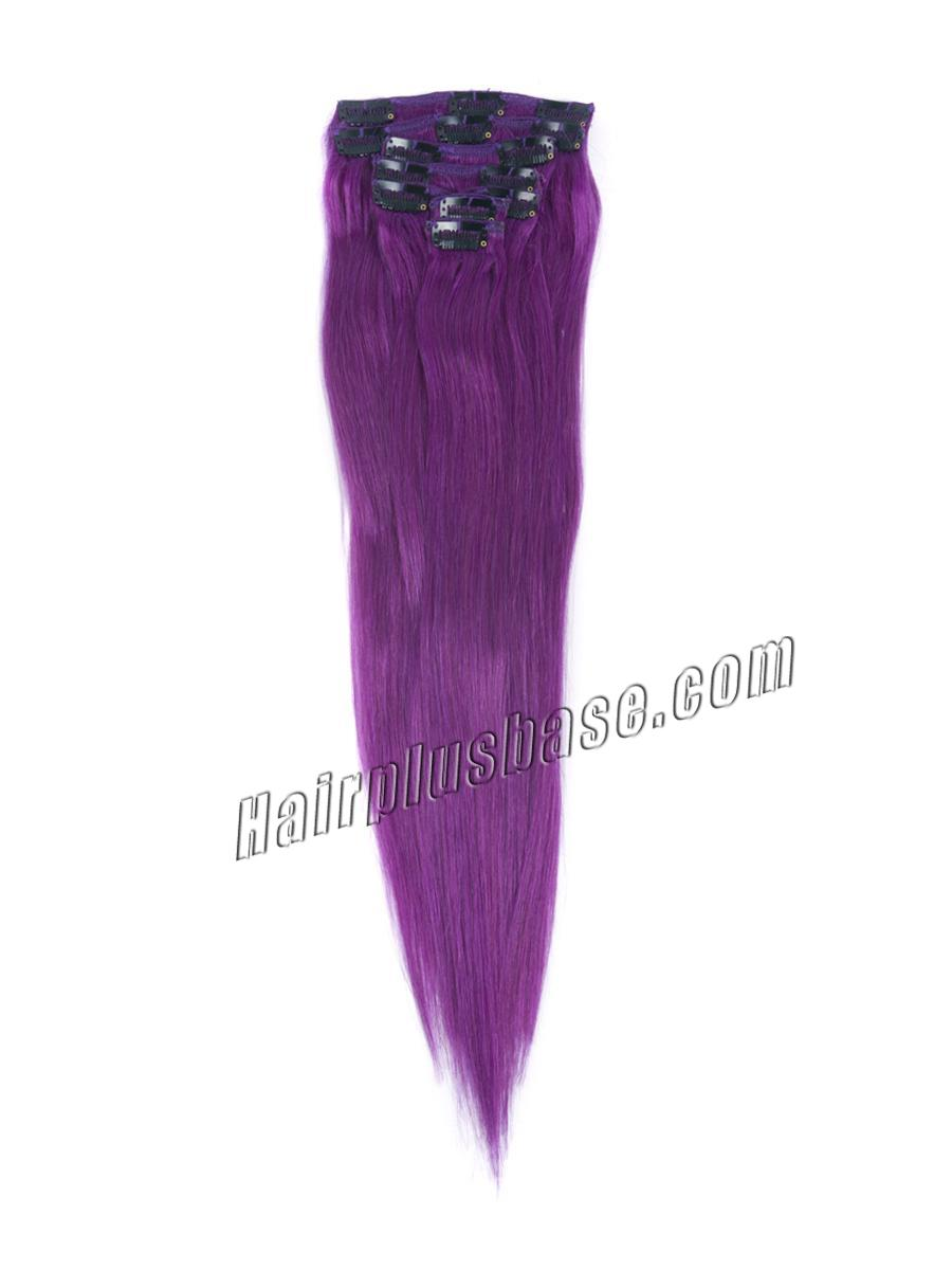 18 Inch Lila Clip In Remy Human Hair Extensions 7pcs no 1