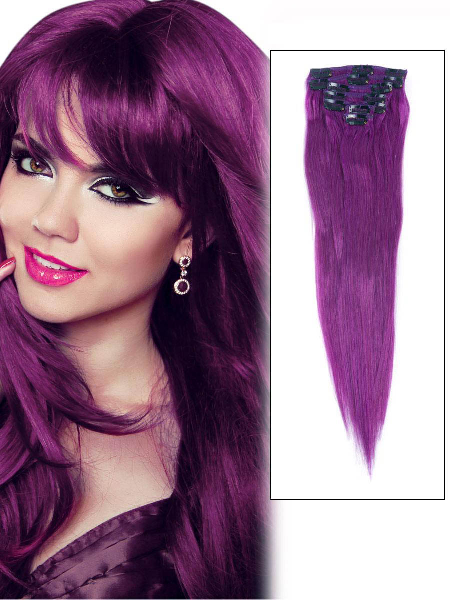 18 Inch Lila Clip In Remy Human Hair Extensions 7pcs