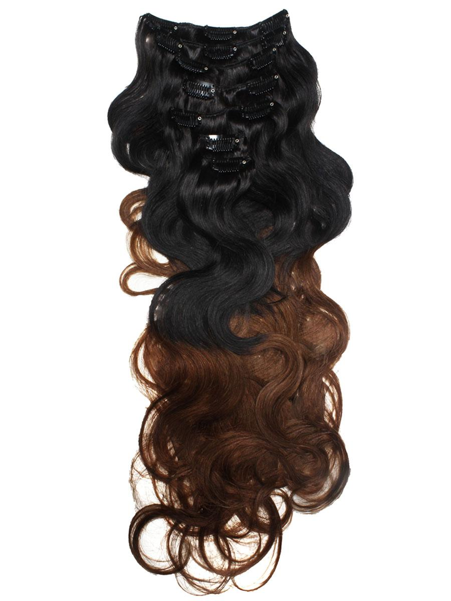 18 Inch Mysterious Ombre Clip In Hair Extensions Two Tone Body Wave